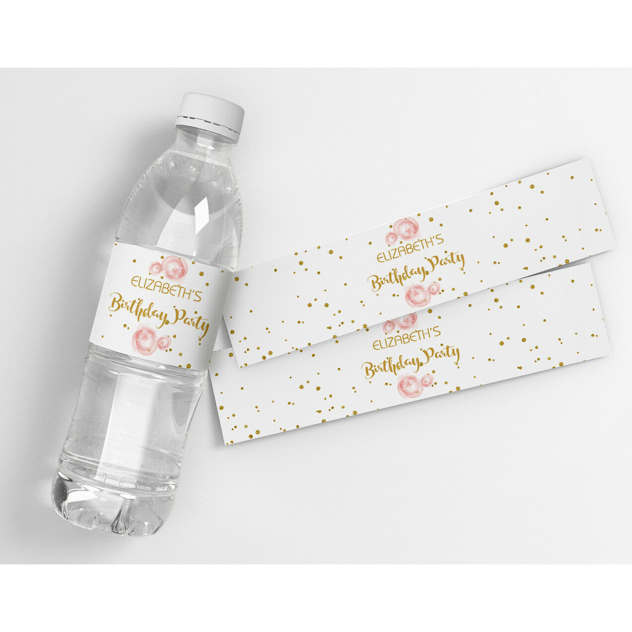 Roses and Gold Birthday Personalized Water Bottle Labels