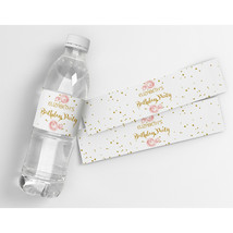Roses and Gold Birthday Personalized Water Bottle Labels - $21.78