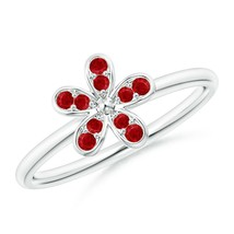 0.22Ctw Pave-Set Natural Ruby Daisy Ring 14K Gold Size 3-13 - $485.10