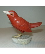 """Vintage Solid Carved Resin Bird Figurine On Stone Base-3 1/2"""" Tall - $9.95"""