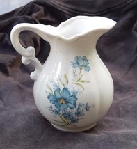 Vintage Inarco Japan White Ceramic Pitcher With Blue Flowers E-4542 - $10.00