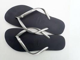 Havaianas Slim Crystal Glamour, New Graphite/Silver Metallic 11-12  Women's - $19.00