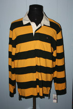 Tommy Hilfiger Green and Yellow Stripe Long Sleeve Patch #5 Polo Shirt 2... - $50.00