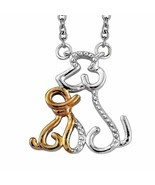 Dog Puppy Mother and Child Necklace 14K gold and Sterling Silver MOTHER'... - $48.39