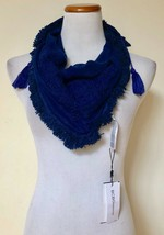 "NWT BCBGeneration Navy Blue Embroidered 26"" Square Scarf Tassel India On... - $16.82"