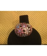 Coach Flower/Poppy Enamel White Bubble/Dome Ring With Rhinestones Nwot Sz 6 - $72.99