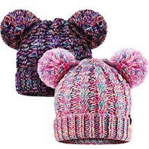 SATINIOR 2 Pieces Knitted Kids Winter Hat with Pompom Ears Toddler Boy G... - $18.29