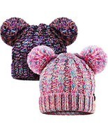 SATINIOR 2 Pieces Knitted Kids Winter Hat with Pompom Ears Toddler Boy G... - £18.03 GBP