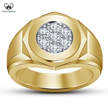 Men's Band Ring In Round Cut White CZ 14k Yellow Gold Plated 925 Sterling Silver - $88.99