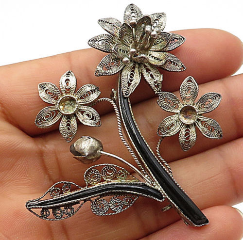 Primary image for 925 Sterling Silver - Vintage Floral Bouquet Detail Brooch Pin -BP1939