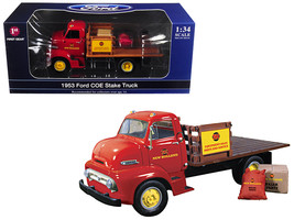 1953 Ford COE Stake Truck with load New Holland Parts & Service 1/34 Die... - $56.74