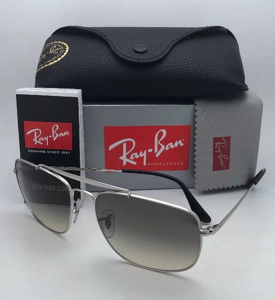 RAY-BAN Sunglasses THE COLONEL RB 3560 003/32 58-17 Silver Aviator w/ Grey Fade image 10