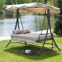 All-Weather Swing Bed With Toss Pillows Three People Durable Water Resis... - $227.14