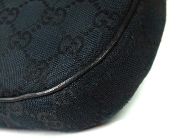 Authentic GUCCI GG Pattern Canvas, Leather Black Shoulder Bag GS9168L