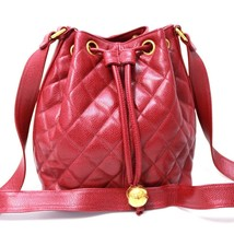 AUTHENTIC CHANEL Drawstring Matelasse Shoulder Bag Red/Bordeaux Caviar L... - $1,420.00