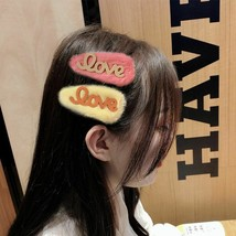 """New Girl Letter """"Love"""" Colorful Soft Faux Fur Hairpins Barrette Hair Acc... - $9.52"""