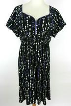 Style & Co. XL Dress SS Black With Purple White Polka Dots V-Neck Purple... - $39.59