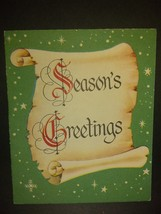 Seasons Greetings Text on Scroll Vintage Christmas Card - $4.00