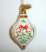 Lenox 2017 Annual Holiday Pattern Ornament Teardrop Ivory Porcelain New - $38.90
