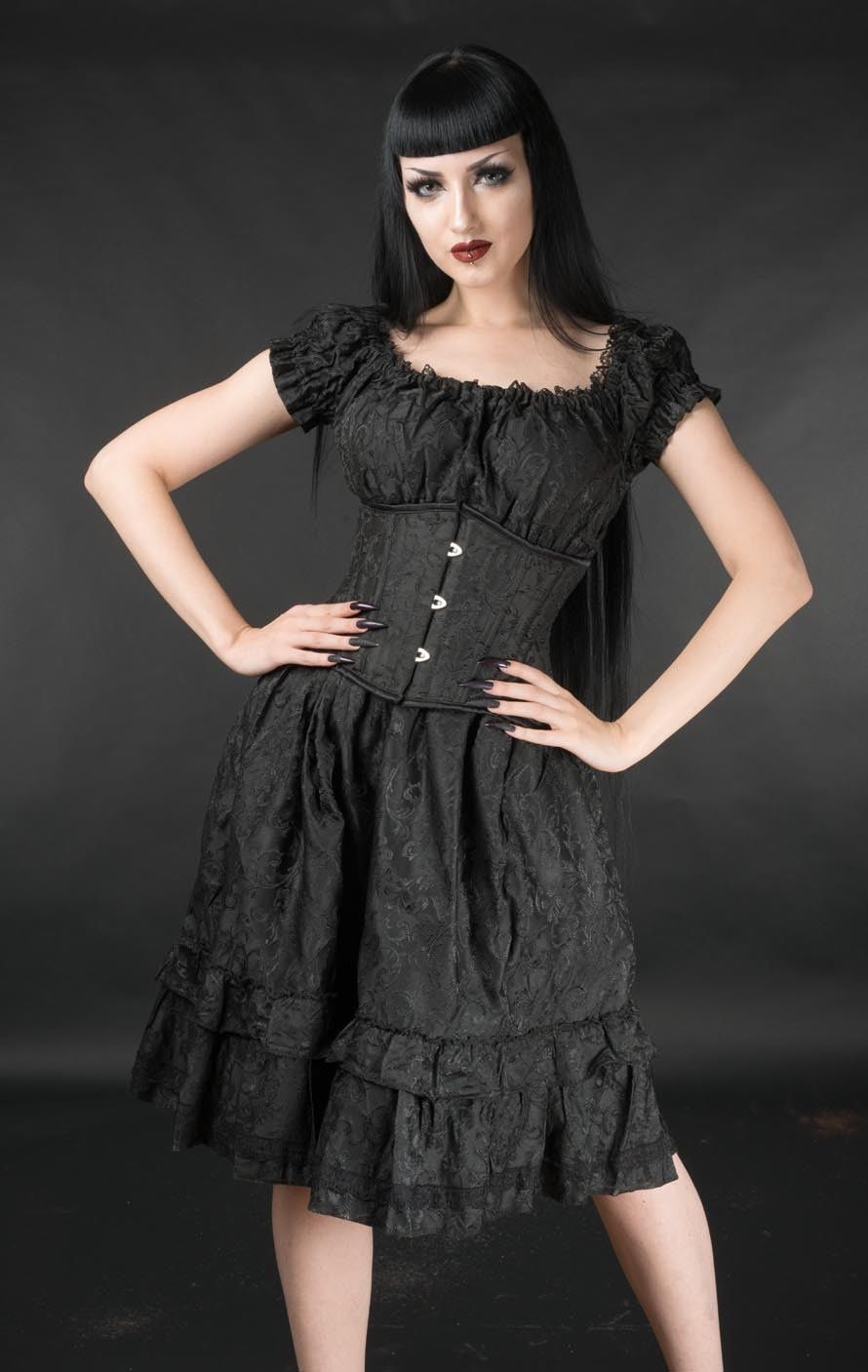 Black Brocade Gothic Rockabilly Pirate Ruffle Corset Dress Gothabilly Mid Length