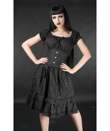 Black Brocade Gothic Rockabilly Pirate Ruffle Corset Dress Gothabilly Mi... - $50.45