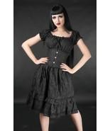 Black Brocade Gothic Rockabilly Pirate Ruffle Corset Dress Gothabilly Mi... - $54.49