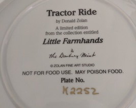 Danbury Mint Collector porcelain Plate Tractor Ride w certificate of auth image 2