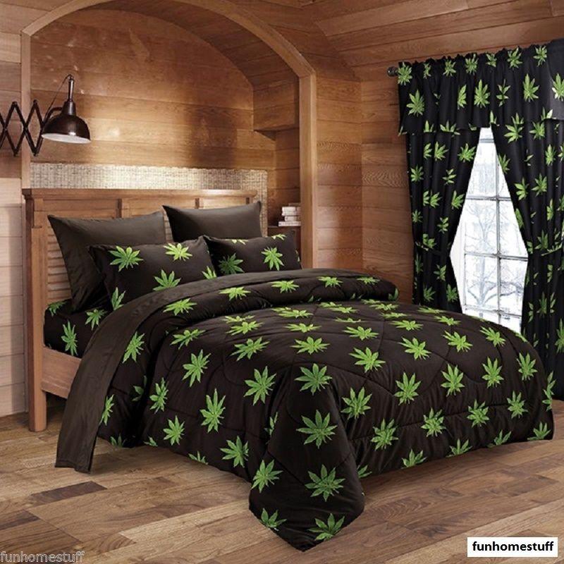NEW MARIJUANA POT LEAF Weed SHEETS BLACK MICROFIBER Twin Full Queen King Bedding