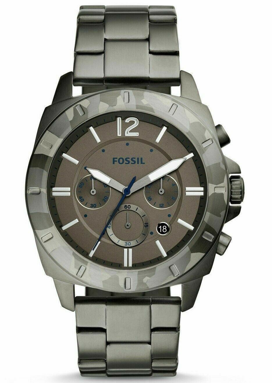 NWT FOSSIL PRIVATEER SPORT SMOKE CHRONOGRAPH STAINLESS STEEL 45mm WATCH BQ2345