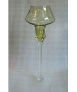 Retro Mod Blown Golden Amber Color EMPOLI ITALY GLASS GOBLET Hooped Comp... - $29.65