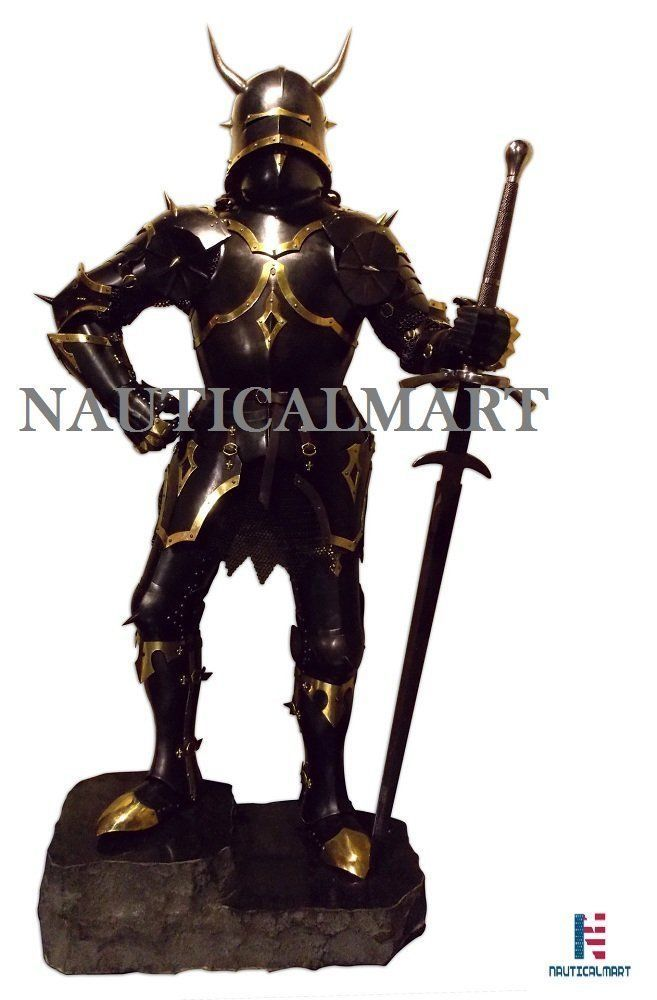 Primary image for Medieval knight Gothic Full Suit of Armor With Horns 15th Century Body Armor
