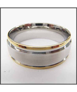 Personalized Stainless Steel Stamped High Polished Gold Edged/Silver Rin... - $19.98