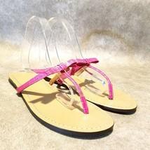 Ann Taylor Womens Loft  Sz 9 M Pink Thong Sandals Bow - $16.99