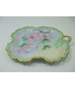 Vintage Porcelain Hand Painted Vanity Jewelry Dish Pink Dogwood Flowers ... - $15.80