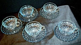 Pale Blue Bubble Depression Glass Tea Cups and Saucer sets AA19-CD0049 Vintage