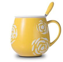 Flower Relief Yellow Mug Ceramic Coffee Milk Tea Cup + Cover Lid + Spoon - $33.95