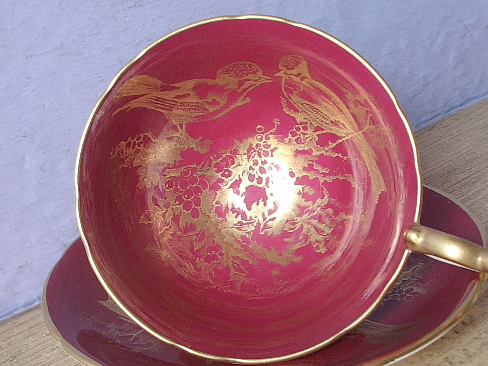RARE Vintage 1950's Aynsley English bone china red and gold birds tea cup teacup