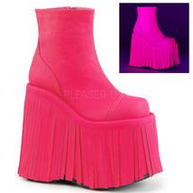 "DEMONIA Gogo Dancer Raver 7"" Platform Neon Pink UV Reactive Ankle High B... - $85.95"