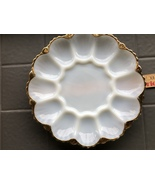"Vintage 10"" White Milk Glass Deviled Egg Serving Plate with Gold Trim - $14.29"