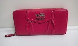 Coach Accordion Zip Around Wallet Pink Leather - $74.25