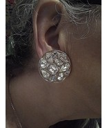VINTAGE CLIP GOLDTONE BUTTON EARRINGS CIRCLES PAVED W/ ASST SHAPED RHINE... - $38.00