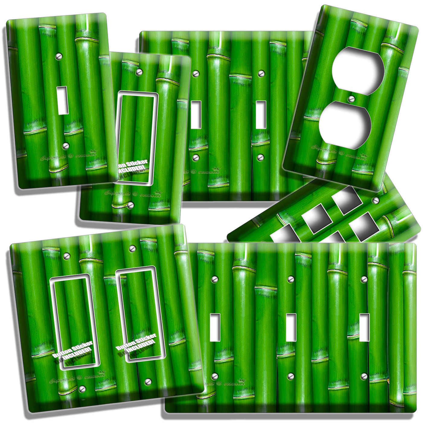 GREEN LUCKY BAMBOO LIGHTSWITCH OUTLET WALL PLATE ROOM HOME FENG SHUI HOUSE DECOR