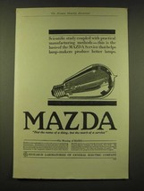 1918 General Electric Mazda light bulb Ad - Scientific study - $14.99