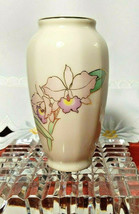 """Otagiri Japan Miniature Vase 3-1/2"""" Pink and Violet Flowers with Gold Trim"""