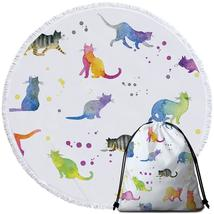 Colorful Water colored Cats Beach Towel - $12.32+