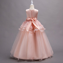 Off Shoulder Pink Floral Lace Flower Girls Dresses Pricess Party Gowns O-Neck  image 5