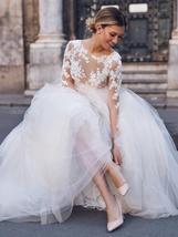 New Elegant Lace on Nude Illusion A-line Fashion Wedding Dress image 2