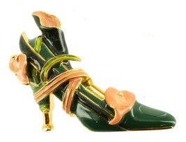 VINTAGE KENNETH J LANE ENAMEL CALLA LILY GREEN HIGH HEEL SHOE PIN - $44.54