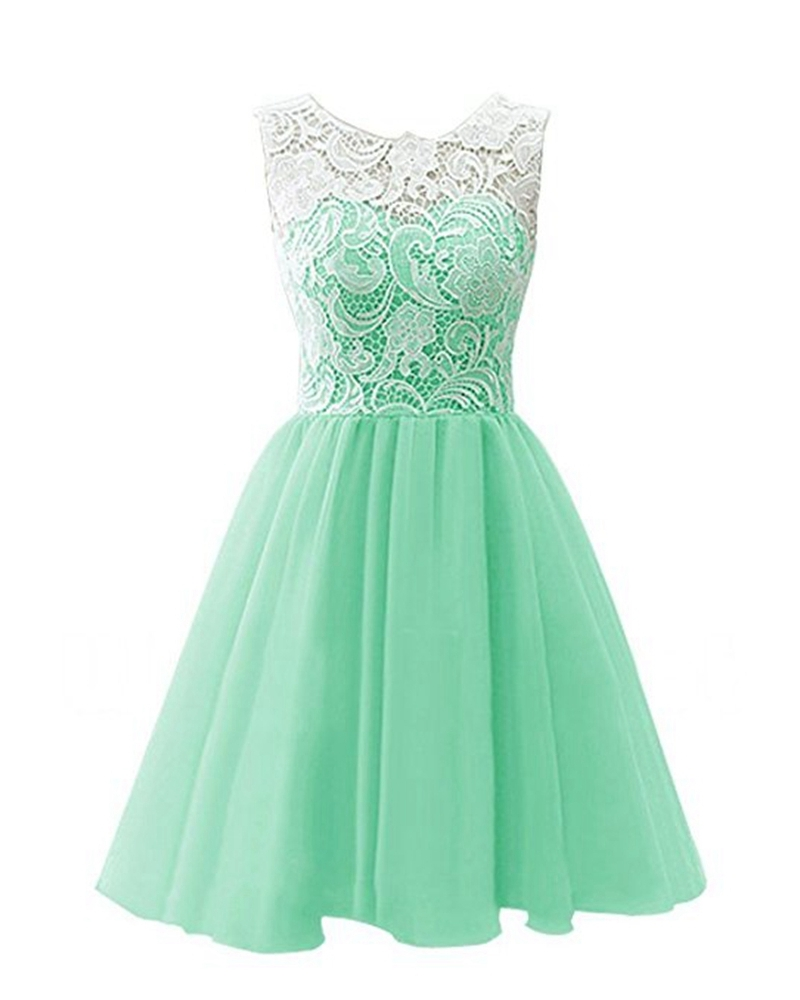 Primary image for Short Prom Gowns Lace Bodice Chiffon Homecoming Dress Mini Formal Cocktail Gown