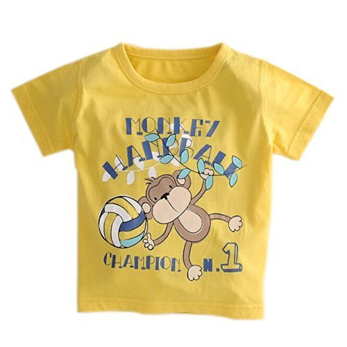 Monkey Pure Cotton Infant Tee Baby Toddler T-Shirt YELLOW 90 CM (12-18M)